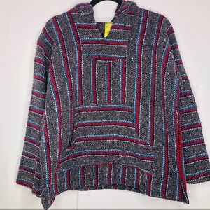 Mexican knit hoodie sweater med